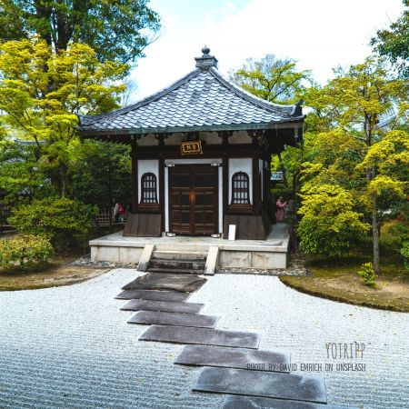 Beautiful shrines in Kyoto, Japan along Philosopher's Path