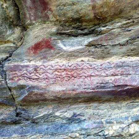 Ancient, Prehistoric Cave Paintings from the Stone Age at Lakhudiyar Cave in Almora, Uttarakhand