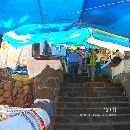 Informal Shopping at Elephanta Caves: Elephant Island steps lined with shops on both sides and covered with blue tarp