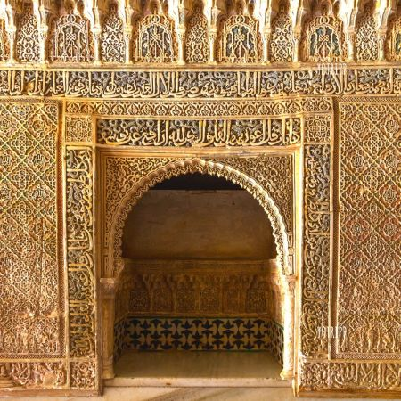 Architectural photography of small door inside Alhambra Palace